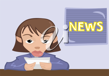 Royalty Free Clipart Image of a News Reader