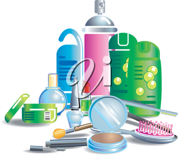 Royalty Free Clipart Image of Cosmetics