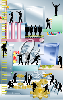 Royalty Free Clipart Image of Businesspeople on a Machine
