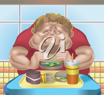 Royalty Free Clipart Image of a Fat Man Eating