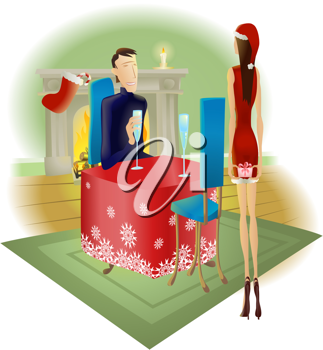 Royalty Free Clipart Image of a Man Giving a Woman a Present