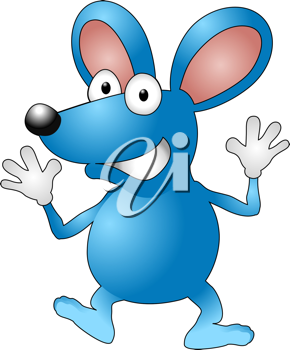 Royalty Free Clipart Image of a Mouse Waving