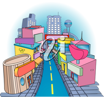 Royalty Free Clipart Image of a Funky Street