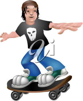 Royalty Free Clipart Image of a Boy Skateboarding