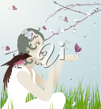 Royalty Free Clipart Image of a Woman Sitting Under a Tree