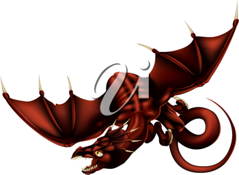 Royalty Free Clipart Image of a Flying Dragon