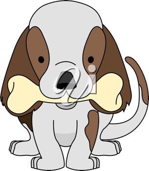 Royalty Free Clipart Image of a Puppy Biting a Bone
