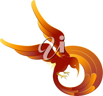Royalty Free Clipart Image of a Vibrant Swirling Phoenix
