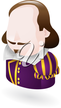 Royalty Free Clipart Image of a Shakespeare Icon