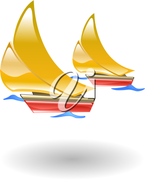 Royalty Free Clipart Image of Two Sailboats