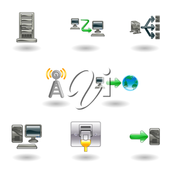 Royalty Free Clipart Image of a Set of Computer and Networking Icons