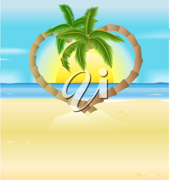 Royalty Free Clipart Image of Heart Shaped Palm Trees