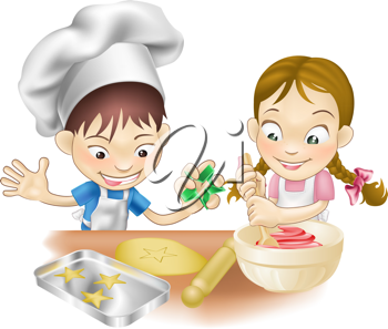 Royalty Free Clipart Image of Two Children Baking