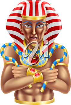 Royalty Free Clipart Image of an Ancient Egyptian Pharaoh King