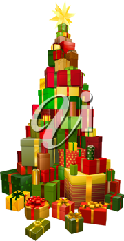 Royalty Free Clipart Image of a Tree Comprised of Presents