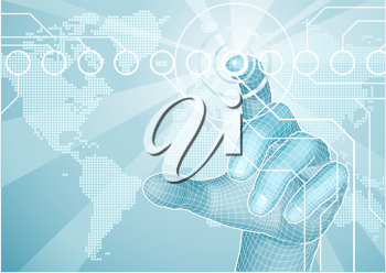 Royalty Free Clipart Image of a Users Hand Selecting a World Map
