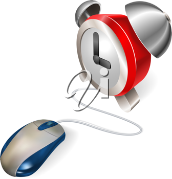 Royalty Free Clipart Image of a Computer Mouse and an Alarm Clock