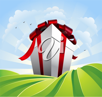 Royalty Free Clipart Image of a Large Present in a Field