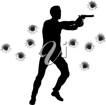 Royalty Free Clipart Image of a Man Shooting a Gun