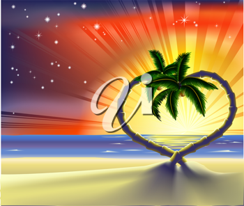 Royalty Free Clipart Image of a Beach Scene With Heart Shaped Palm Trees at Sunset