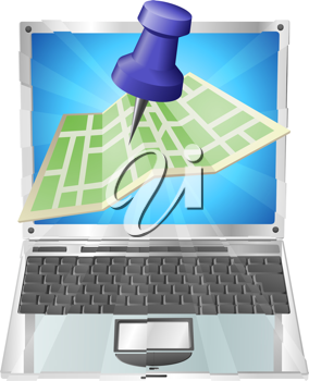 Royalty Free Clipart Image of a Street Map on a Laptop