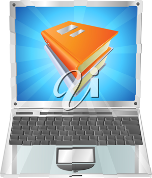 Royalty Free Clipart Image of a Books on a Laptop Screen