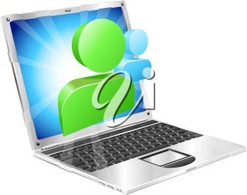 Royalty Free Clipart Image of a Laptop With Messenger Icons