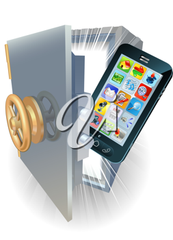Royalty Free Clipart Image of a Phone in a Safe