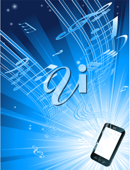 Royalty Free Clipart Image of Music Streaming Out of a Cellphone