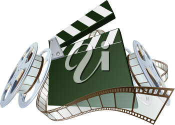 Royalty Free Clipart Image of a Clapperboard and Film Spooling Out of a Film Reel