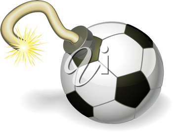 Royalty Free Clipart Image of a Soccer Ball Cherry Bomb