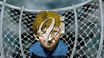Royalty Free Clipart Image of a Sad Boy by a Schoolyard Fence