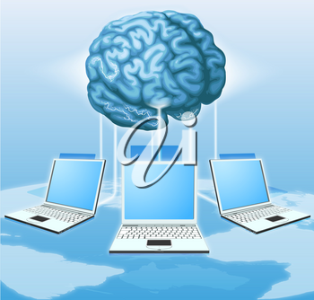 Computers connected to central brain, concept for distributed computing, crowd sourcing or other internet metaphor.