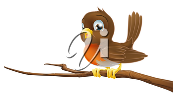 Drawing of a cute Robin sitting on a tree branch