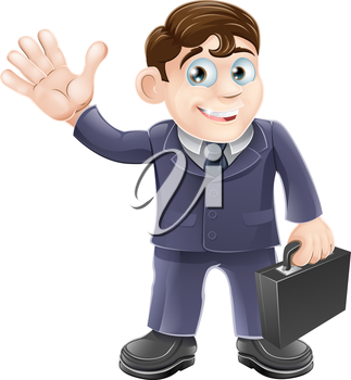 Illustration of a happy smiling cartoon business man waving and holding a briefcase