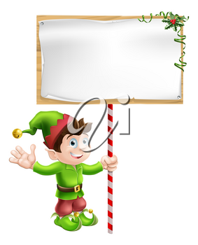 A Christmas elf or pixie or Santa's helper holding a large Christmas sign in traditional elf clothes