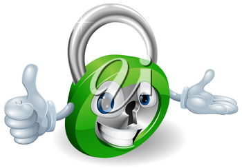Smiling padlock safety concept mascot with thumbs up and open hand