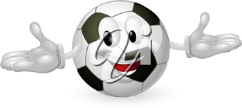 Illustration of a cute happy soccer football ball mascot man