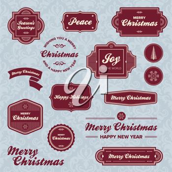 Royalty Free Clipart Image of Vintage Labels and Christmas Greetings