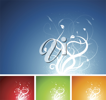 Royalty Free Clipart Image of a Set of Floral Backgrounds