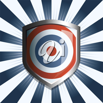 Royalty Free Clipart Image of a Striped Background With a Shield