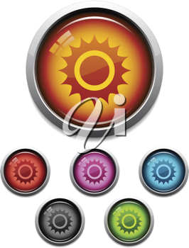 Royalty Free Clipart Image of Glossy Buttons With the Sun
