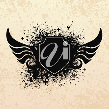 Royalty Free Clipart Image of a Grunge Shield