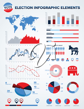 Set of election infographic charts, icons, and design elements