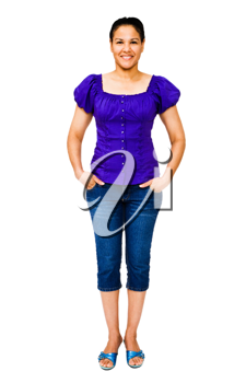 Smiling young woman posing isolated over white