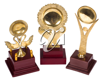 Close-up of trophies