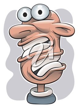 Royalty Free Clipart Image of a Surprised Man With a Twisted ead