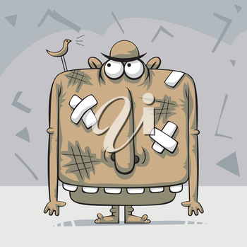 Royalty Free Clipart Image of a Creature With Bandaids