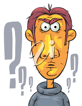 Royalty Free Clipart Image of a Quizzical Man