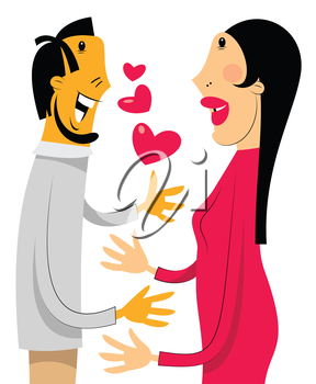 Royalty Free Clipart Image of a Couple in Love